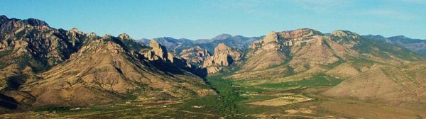 Aerial view of Cave Creek Canyon entrance